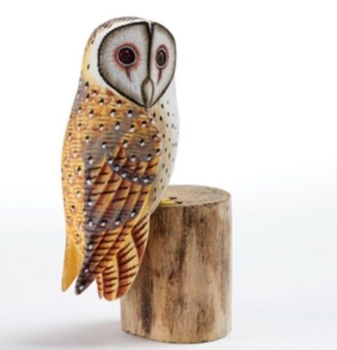 Barn Owl Hand Carved Painted Bird on Wood Log