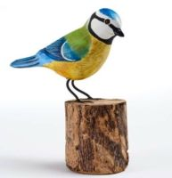 Blue Tit Hand Carved Painted Bird on Wood Log