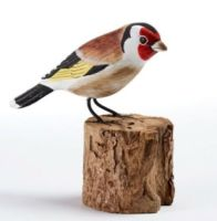 Goldfinch Hand Carved Painted Bird Wood Log