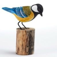 Great Tit Hand Carved Painted Bird on Wood Log