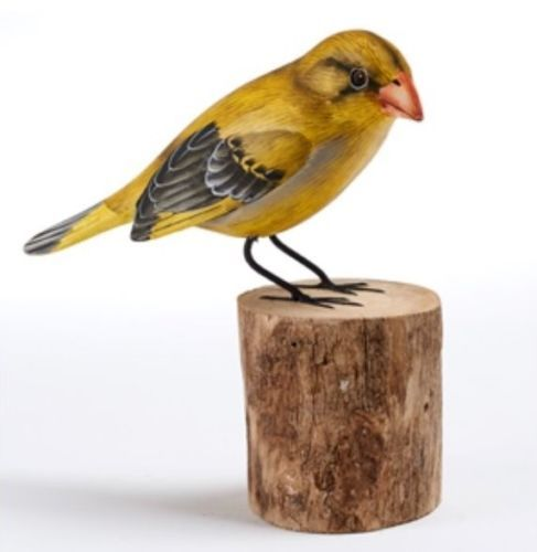 Greenfinch Hand Carved Painted Bird Wood Log