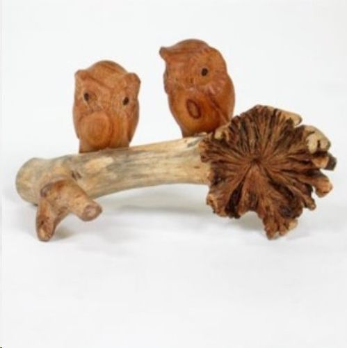 Hand Carved Jempinis wooden 2 Owls on Chinaberry Parasite Wood