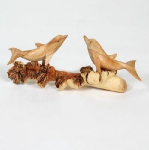 Hand Carved Jempinis wooden Dolphins on Chinaberry Parasite Wood