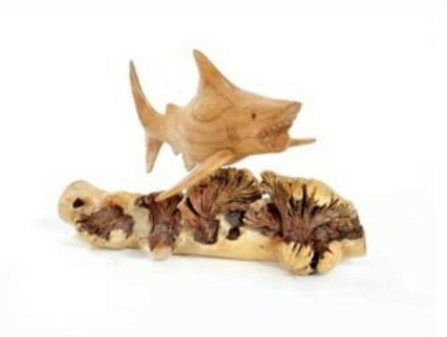 Hand Carved Jempinis wooden Shark on Chinaberry Parasite Wood