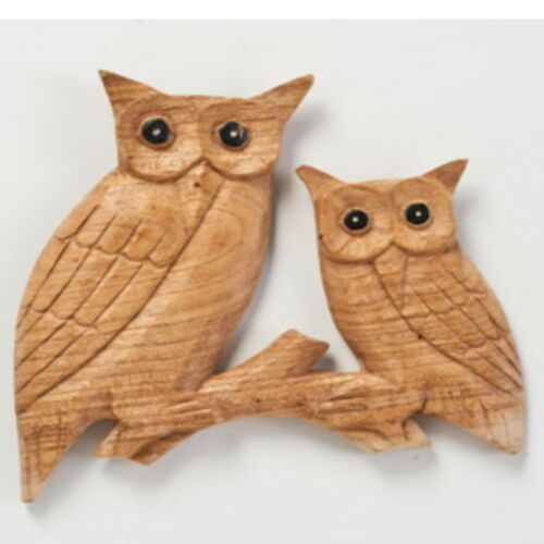Hand Carved Wooden OWLS on Branch