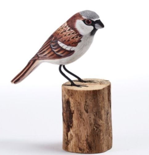 House Sparrow Carved Painted Bird on Wood Log