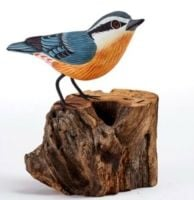 Nuthatch Hand Carved Painted Bird on Wood Log