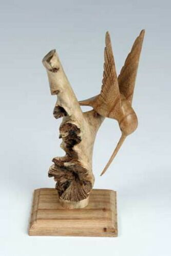 Hand Carved Beautiful Hummingbird on Stand Chinaberry Parasite Wood