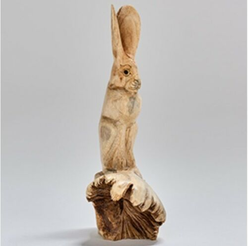 Hand Carved Rabbit Figure on Chinaberry Parasite Wood