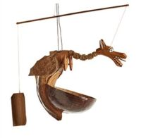 Hand Carved Wood Dragon Bird Feeder Bamboo Coconut Garden Wind Mobile