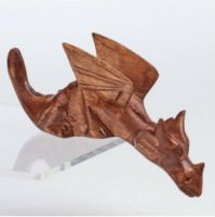 Hand Carved Wood DRAGON Shelf Sitter