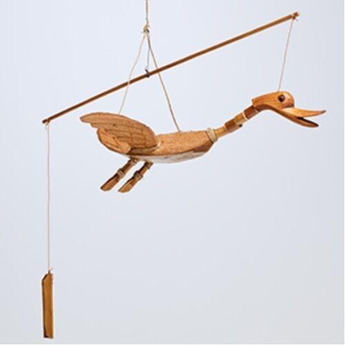 Hand Carved Wood DUCK Bird Bamboo Coconut Garden Wind Mobile