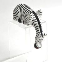 Hand Carved Wood ZEBRA Shelf Sitter