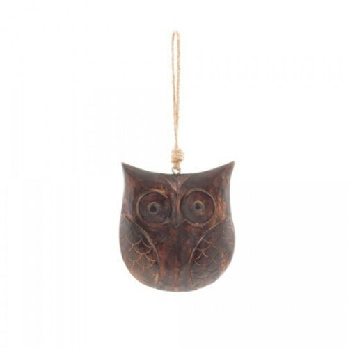 Large hanging handcarved dark wood owl