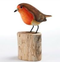 Robin Hand Carved Painted Bird on Wood Log