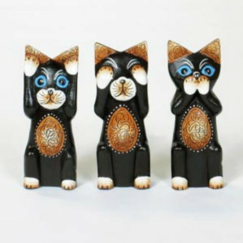 Set of 3 Hand Carved Cats HEAR SEE SPEAK NO EVIL