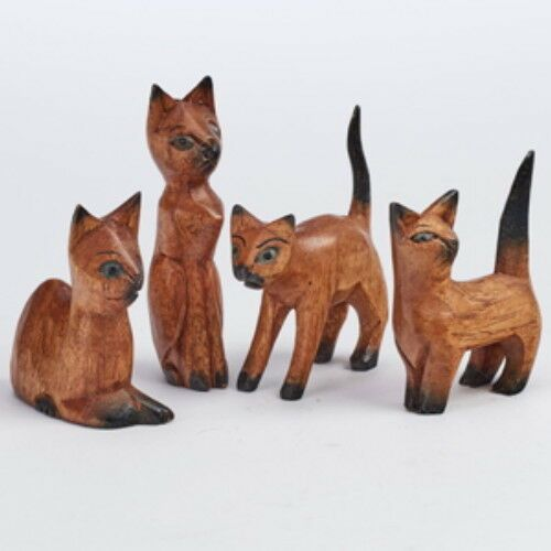 Set of 4 Cats Wooden Hand Carved