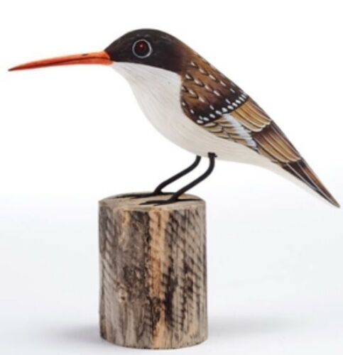 Treecreeper Hand Carved Painted Bird on Wood Log