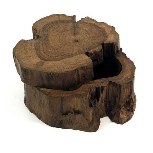 Thai Dark Wooden Log Box with Sliding Lid Trinket