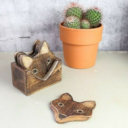 Wooden Fox Face Coaster Set of 6 with Holder