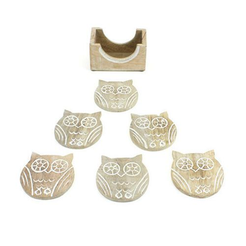 Wooden Owl Coaster Set of 6 with Holder