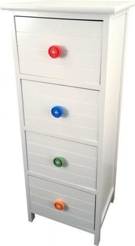 4 Drawer White Wooden Cabinet With Coloured Button Handles