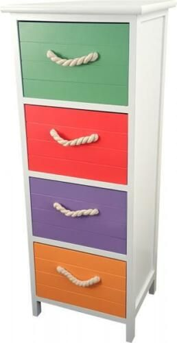 4 Drawer White Wooden Cabinet With Coloured Drawers Rope Handles
