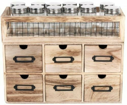 Rustic Industrial 12 Jar Spice Rack With 6 Drawer Storage Cabinet Unit