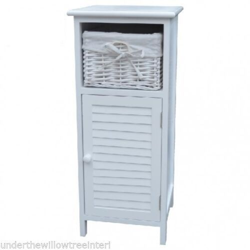 White 1 Door 1 Wicker Lined Basket Bathroom Cabinet Storage Unit