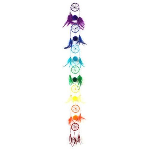 100cm Chakra Chain of Rainbow Dreamcatchers String Feathers Multi Coloured