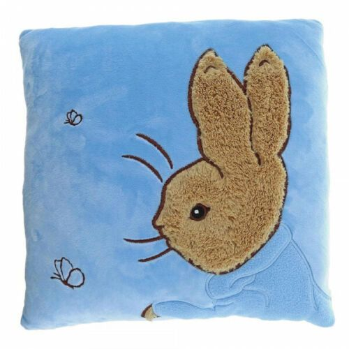 Beatrix Potter Peter Rabbit Bunny Blue Plush Embroidered Cushion