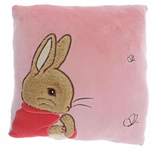 Beatrix Potter Peter Rabbit Flopsy Bunny Pink Plush Embroidered Cushion