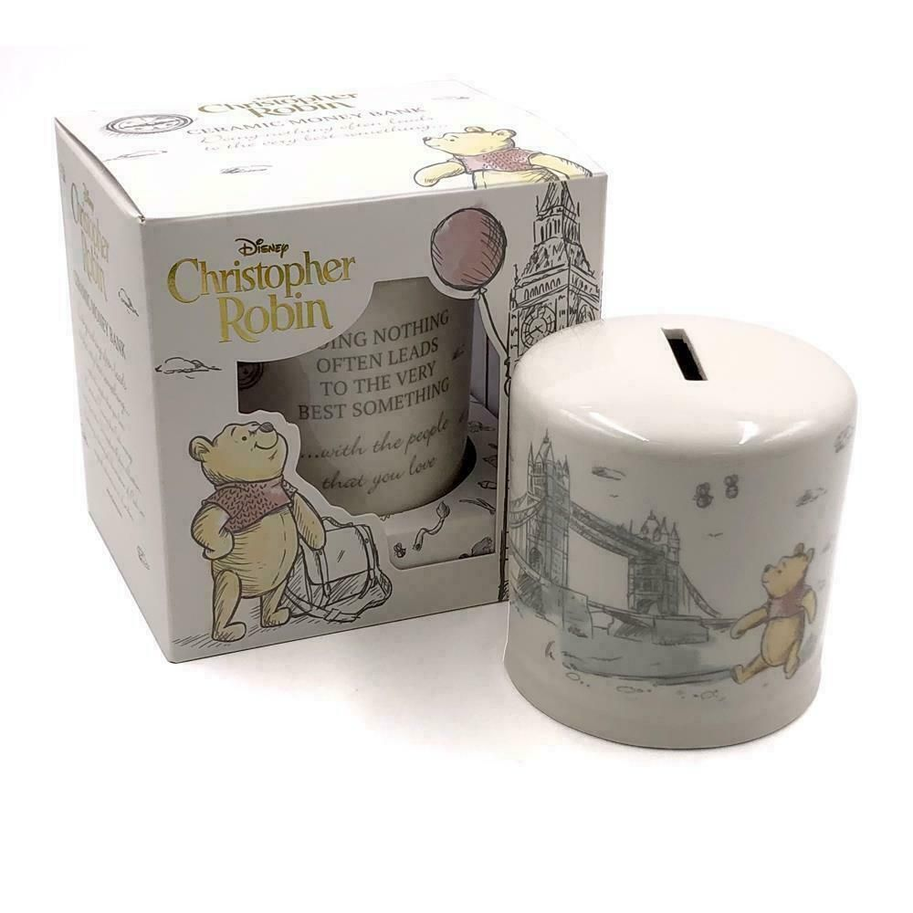DISNEY Classic Christopher Robin Winnie the Pooh Ceramic Money Bank