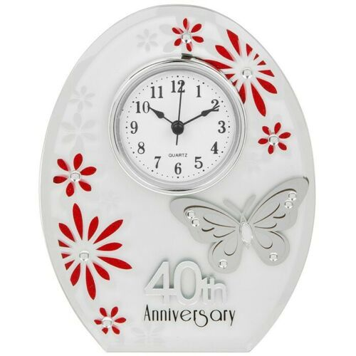40th Ruby Wedding Anniversary Clock White Butterfly