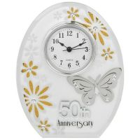 50th Golden Wedding Anniversary Clock Gold Butterfly