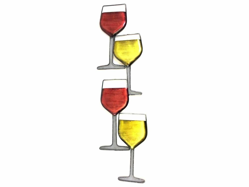 Contemporary Coloured Wine Glass Tower Metal Wall Art