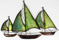 3 Green Sailing Boats Wall Art