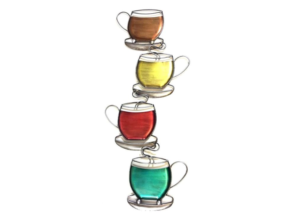 Multi Colour Coffee Tea Cups Tower Metal Wall Art