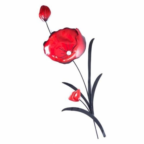 Red Poppy Flower with Black Leaves Metal Wall