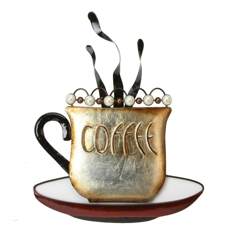 Steaming Coffee Cup Metal Wall Art Brown & Pearl Beads