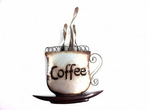 Steaming Coffee Cup Metal Wall Art