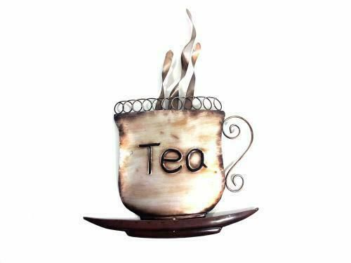 Steaming Tea Cup Metal Wall Art