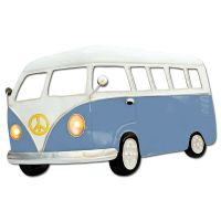 Large Blue Camper Van Metal Wall Art With Working LED Headlights
