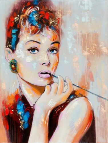 Hand Painted Acrylic Canvas Wall Art - Audrey Hepburn