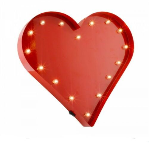 LED Metal Red Heart Wall Art