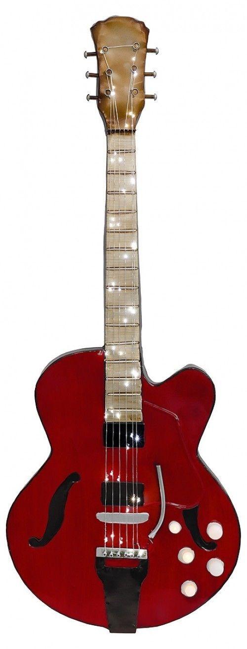 Large Metal LED Light Up Red 3D Guitar Wall Art