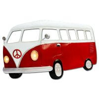 Large Red Camper Van Metal Wall Art With Working LED Headlights