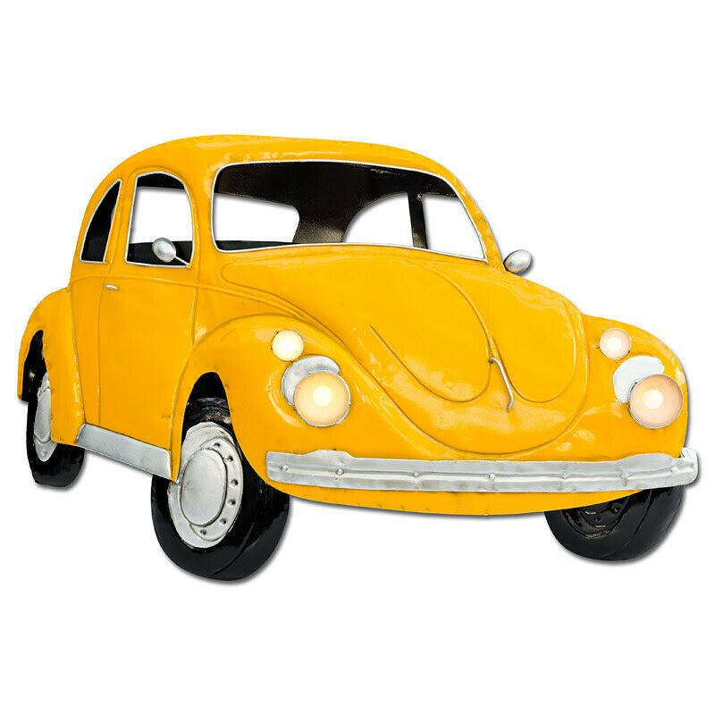 Large Yellow Beetle Car Metal Wall Art LED