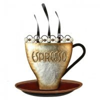 Steaming Espresso Coffee Cup Metal Wall Art Brown & Pearl Beads