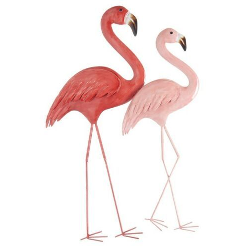 2 Pink Tropical Flamingo`s Wall Art